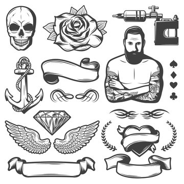 Vintage Sketch Tattoo Studio Elements Set