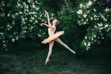 Young woman in white tutu dancing in the green flowers landscape. Beautiful ballerina showing classic ballet poses and jumping high into the air. Concept of female tenderness and harmony life.