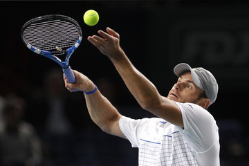 Roddick of the U.S. serves the ball to Soderling of Sweden during their Paris Masters tennis tournament quarter-final match