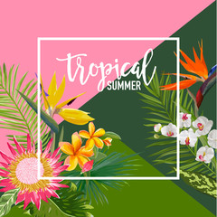 Tropical Flowers Summer Banner, Graphic Background, Exotic Floral Invitation, Flyer or Card. Modern Front Page in Vector