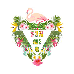 Tropical Flamingo Bird and Flowers Background. Summer Design. Vector. T-shirt Fashion Graphic. Exotic.