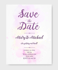 Wedding invitation template with watercolor blots