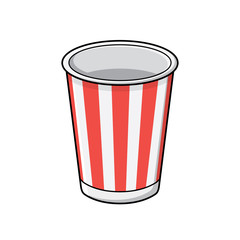 Empty paper red striped soft drink disposable cup, vector icon isolated.