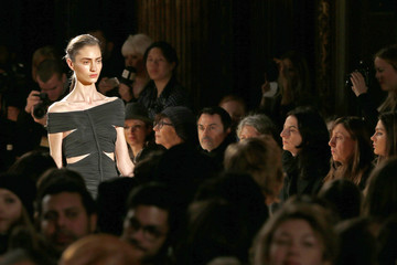 French top model Marine Deleeuw presents a creation by French designer Barbara Bui as part of her Fall-Winter 2013/2014 women's ready-to-wear fashion show in Paris