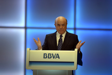 Francisco Gonzalez, chairman and CEO of Spain's second biggest bank BBVA, gestures during a speech at the Annual General Meeting of Shareholders at the Palacio Euskalduna in Bilbao