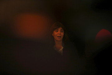 Portugal's Left Bloc leader Catarina Martins speaks to the media after a meeting with Portugal's president at Belem Palace in Lisbon