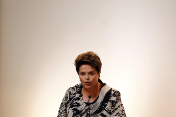 Brazil's President Rousseff delivers a speech during an official lunch with Argentina's President de Kirchner in Buenos Aires