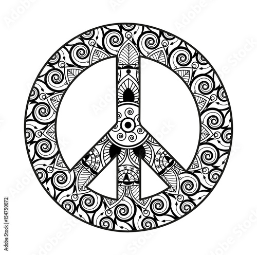 Peace sign mandala coloring pages for Peace sign mandala coloring pages