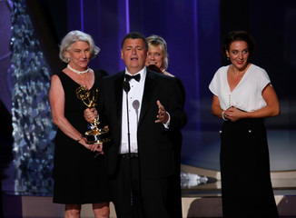 Steven Moffat accepts the award for Outstanding Television Movie at the 68th Primetime Emmy Awards in Los Angeles