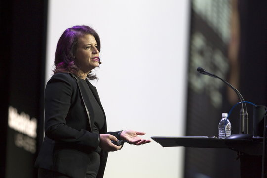 """Jennifer Granick, director of civil liberties at the Stanford Center for Internet and Society, delivers a keynote speech titled """"The Lifecycle of a Revolution"""" during the Black Hat USA 2015 cyber security conference in Las Vegas"""