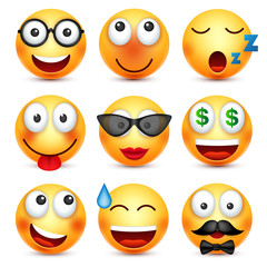Smiley set with 3d glasses,smiling emoticon. Yellow face with emotions. Facial expression. 3d realistic emoji. Funny cartoon character.Mood. Web icon. Vector illustration.