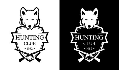 Black and White Emblem for Hunting Club