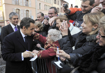 "France's President Nicolas Sarkozy is seen during a visit focused on ""French Christian roots"" in Le Puy-en-Velay, center France"