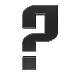 question mark 3d colored black interrogation point punctuation mark asking sign isolated on white background in high resolution for business presentation and print