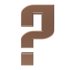 question mark 3d colored brown coffee interrogation point punctuation mark asking sign isolated on white business in high resolution for business presentation and print