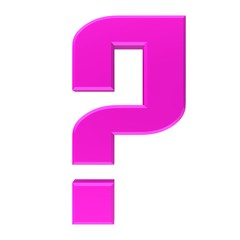 question mark pink 3d colored interrogation point punctuation mark asking sign isolated on white backgournd in high resolution for business presentation and internet