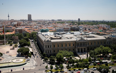 An aerial picture shows Spain's National Library at Colon square in Madrid, Spain