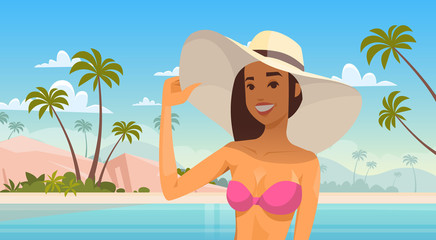 Woman Over Tropical Beach, Smiling Girl Wear Hat On Summer Sea Vacation Flat Vector Illustration