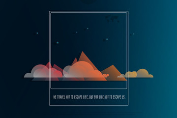 night view of high mountains. vector, beautiful landscape. cartoon style mountain photo frame. extreme sports and tourism banner design. mountaineering adventure, hiking concept