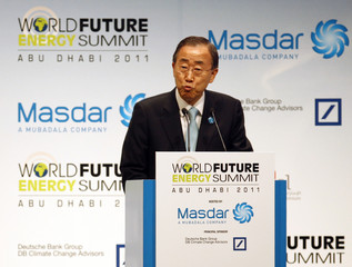 United Nations Secretary General Ban Ki-moon speaks during the opening presentation at the World Future Energy Summit at the Abu Dhabi National Exhibition Center