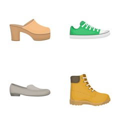 Flip-flops, clogs on a high platform and heel, green sneakers with laces, female gray ballet flats, red shoes on the tractor sole. Shoes set collection icons in cartoon style vector symbol stock