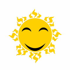 yellow smiling sun vector - cartoon vector