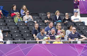 Spectators look on while seated at Horse Guards Parade during the London 2012 Olympic Games in London