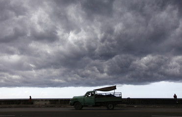 Storm clouds gather over Havana's seafront boulevard 'El Malecon'