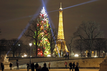 People walk in the Tuileries Gardens as a 32-foot fir Christmas tree and the Eiffel Tour are illuminated in the background in Paris
