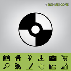 Vector CD or DVD sign. Vector. Black icon at gray background with bonus icons at celery ones