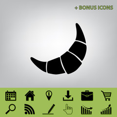 Croissant simple sign. Vector. Black icon at gray background with bonus icons at celery ones