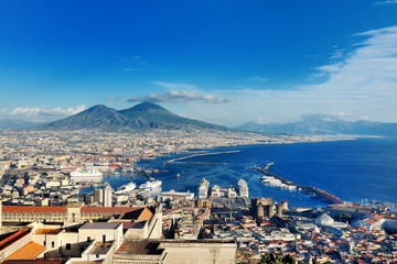 Spoed Fotobehang Napels Naples, Italy, Europe - panoramic view of the gulf and Vesuvius volcano