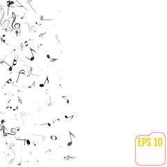 Vector Falling Notes Background. Frame of Treble Clefs, Bass Clefs and Musical Notes. Black Musical Symbols of Different Size on White Background