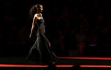 A model presents a creation from the GIOIA PAN Spring/Summer 2012 collection during China Fashion Week in Beijing