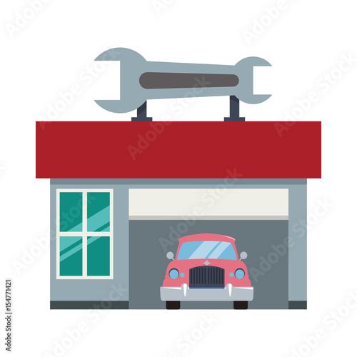 Garage Door Mechanic Vector Icon Illustration Graphic Design Stock
