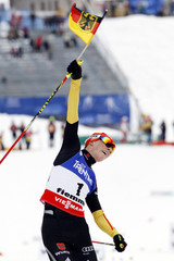 Frenzel of Germany celebrates winning the Nordic Combined men's Individual Gundersen 10km competition at the Nordic Ski World Championships in Val di Fiemme