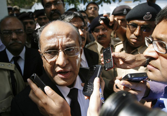 Prosecutor Panchal speaks to the media outside the Sabarmati central jail in Ahmedabad