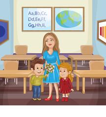 Teacher and school kids.