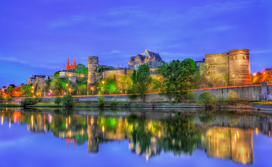 Angers Castle and the Maine River in France