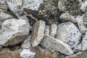 Broken pieces of  concrete