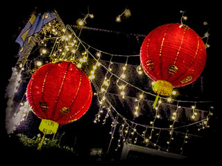Red paper lanterns; HDR effect