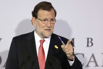 Spanish Prime Minister Mariano Rajoy addresses the media after participating  in the 24th Ibero-American Summit in Veracruz