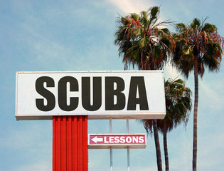 suba lessons sign with palm trees