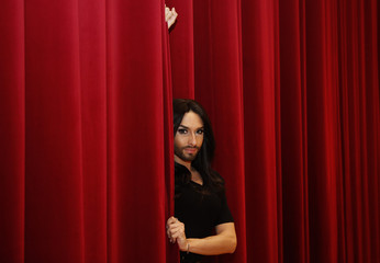 Austrian drag queen and 2014 European song contest winner Conchita Wurst poses in Vienna