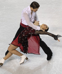 Alexandra and Roman Zaretsky of Israel perform during the Ice Dance Compulsory Dance at the European Figure Skating Championships in Tallinn.