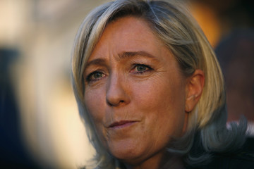 Le Pen, France's National Front leader, is seen before a rally for local elections to support Rachline, head of the National Front list for municipal elections in Frejus