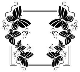 Black and white silhouette frame with butterflies. Vector clip art.
