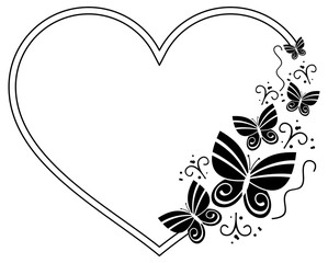Heart shaped silhouette frame with butterflies. Vector clip art.