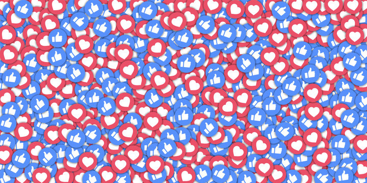 Social media icons in abstract shape background with scattered thumbs up and hearts. Concept in radiant vector illustration.