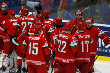 Players of Belarus celebrate after their Ice Hockey World Championship game against Norway at the CEZ arena in Ostrava
